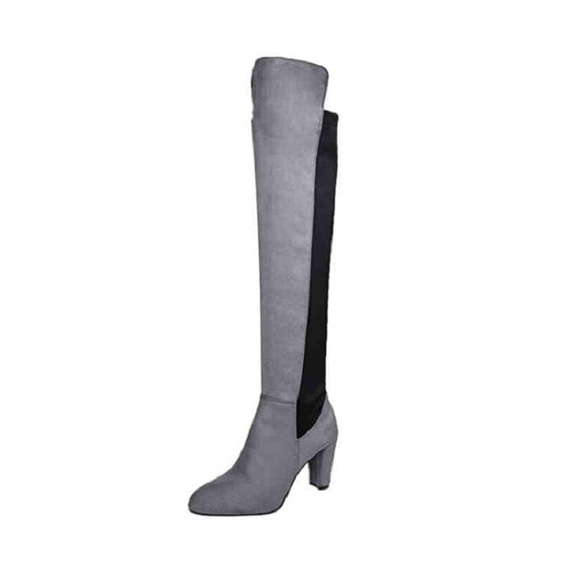 2018 autunno e inverno in pelle scamosciata grandi dimensioni Europee e Americane tacco alto tacco di spessore con il ginocchio stivali delle donne di modo grigio ljj 1031