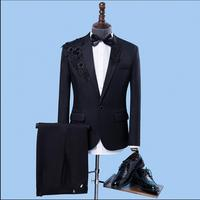 Jacket + Pants men 2018 new slim applique suits handsome wedding ceremonies host clothing wedding formal dress singer costumes
