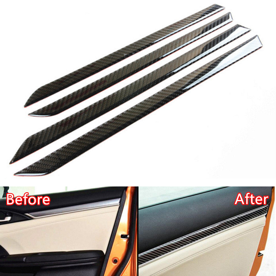 YAQUICKA Carbon Fiber Car Interior Door Panel Cover Sticker Trim Styling For Honda Civic 2016 2017 Auto Accessories
