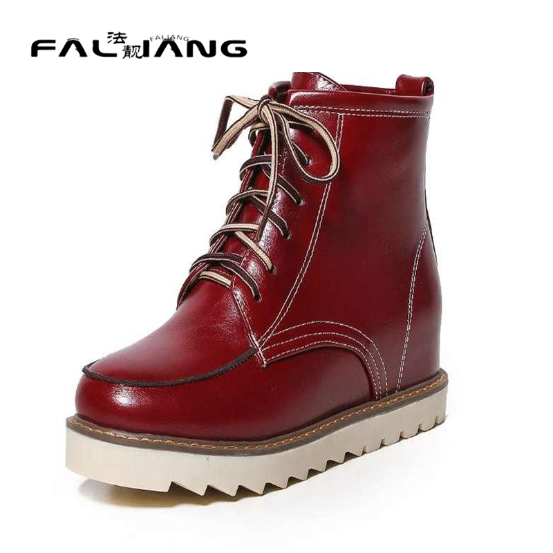 ФОТО 2 Colors Classics Increasing Women Ankle Boots Lace Up Women Shoes Solid Round Toe Platform Shoes Snow Boots For Lady