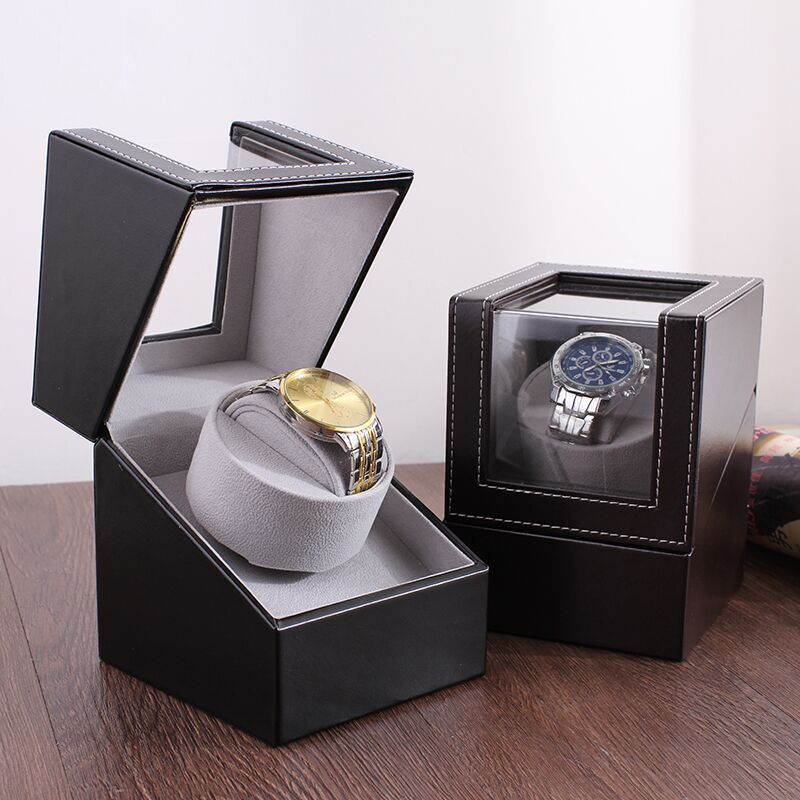 2019 new PU leather mini single automatic mechanical watch list box on the shaking table editor to wind shake table motor box