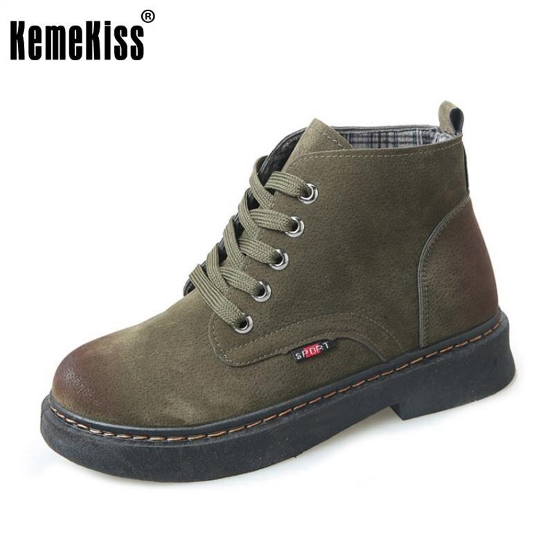 KemeKiss Size 35-40 Winter Shoes Women Warm Fur Inside Ankle Snow Boots For Women Cross Tied Thick Platform Warm Winter Botas