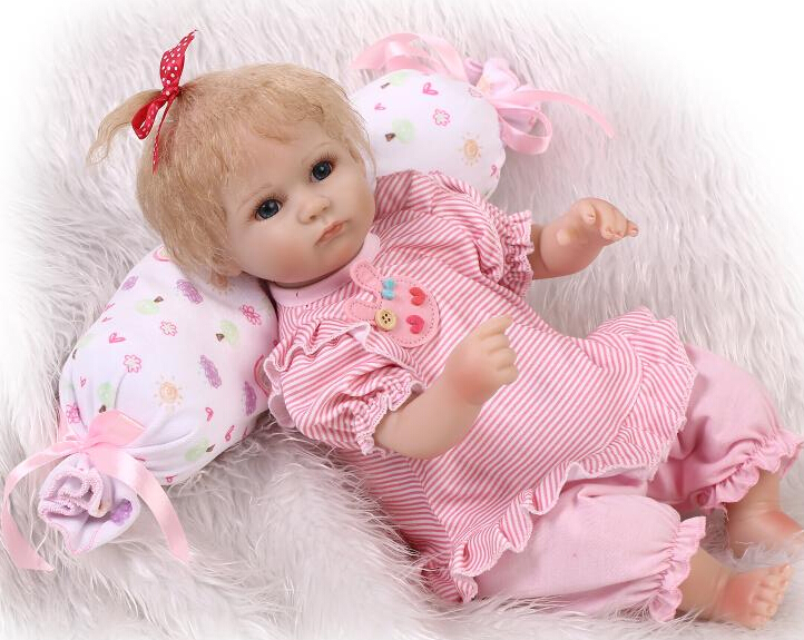 Lovely like real pink slicone baby reborn doll toy play house toys for kid girl brinquedos newborn girls babies collectable doll