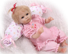 Lovely like real pink slicone baby reborn doll toy play house toys for kid girl brinquedos newborn girls babies collectable doll(China)