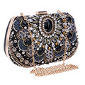 Free Shipping Europe High-Grade Punk Shining Gem Diamond Evening Bag Popular Gold Metal Banquet Clutch Bag with Shoulder Chain