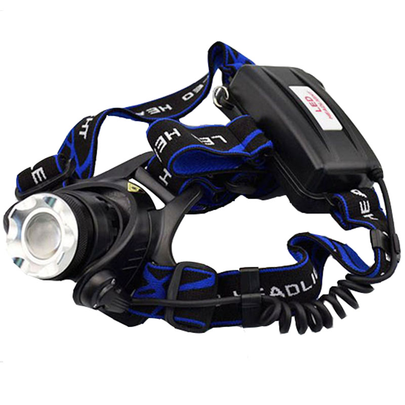 Waterproof LED Headlight CREE XM-L T6 Headlamp with 18650 Battery 2 Chargers Head Lamp LED Flashlight Head Torch Camping Fishing