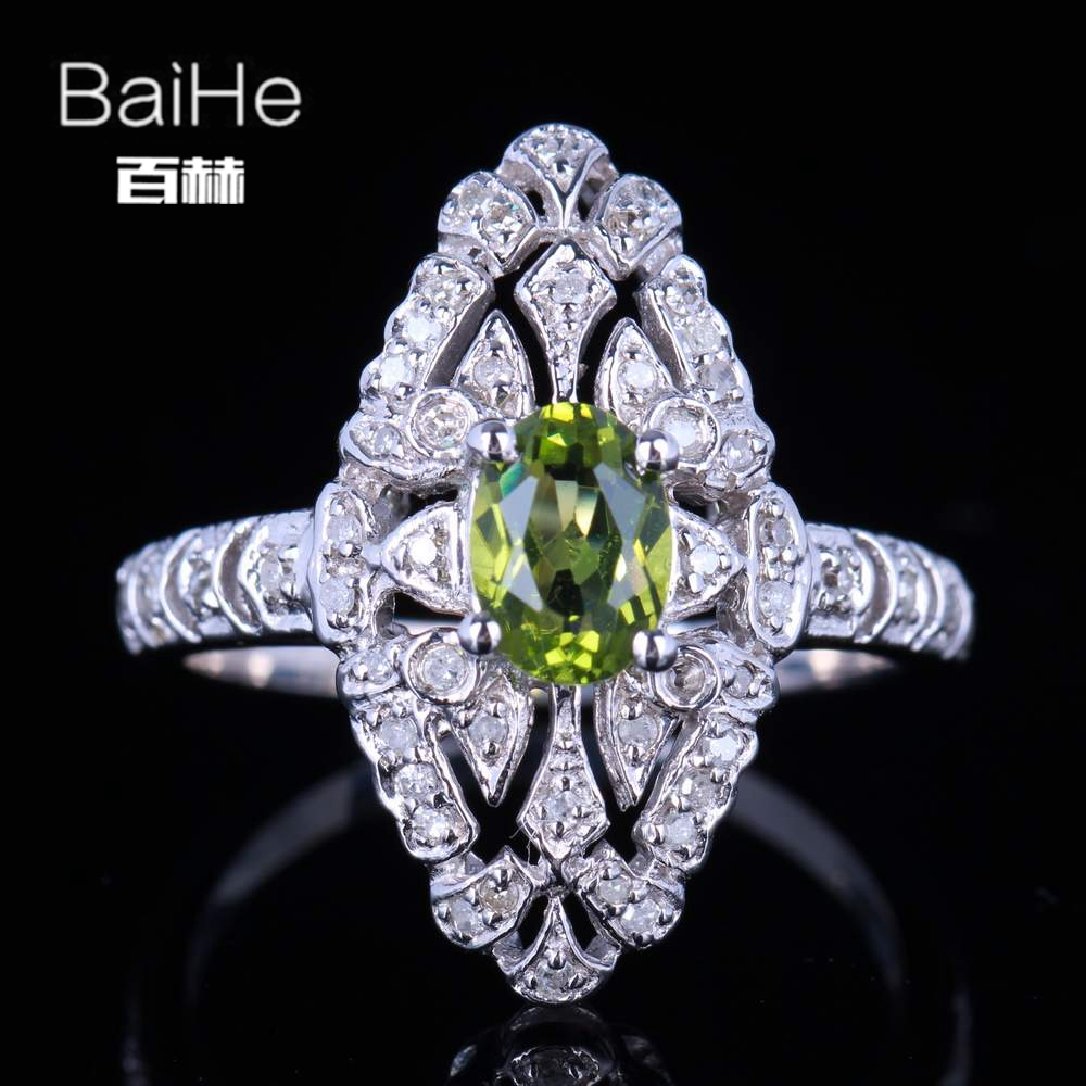 BAIHE solide 14 K or blanc (AU585) 0.8CT certifié vert impeccable ovale véritable péridot mariage femmes à la mode Fine bijoux anneau