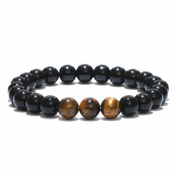 Bracelet style minimaliste perle obsidienne 1