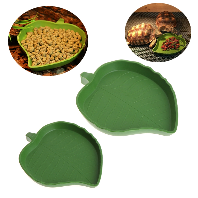 2018 NEW Plastic Reptile Water Food Dish Bowl Gecko Meal Worm Feeder Leaf Shape Feeder  Reptile Water Food Dish Bowl