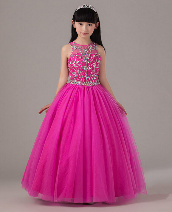 Ball Gown Beaded Little Girl Pageant Dress Keyhole Back Fuchsia ...