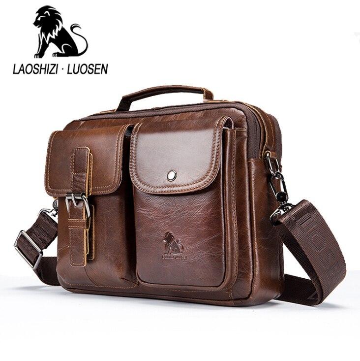 1316e7316149 LAOSHIZI LUOSEN men Genuine Leather Shoulder Messenger Bag men s Handbag  Vintage Crossbody Bag Tote Business Man Messenger Bag -in Crossbody Bags  from ...