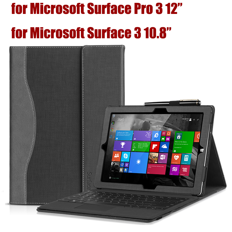 Pu Leather Sleeve Tablet Cover Case for Microsoft Surface Pro 3 12 Stand Cases for Surface 3 10.8 Compatible with Keyboard new fashion original physical keyboard station official stand type cover case for microsoft surface 3 rt rt3 10 8 tablet