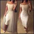 Старинные кружевные ча-длина оболочка свадебное платье со съемными юбка лодка шеи с плеча краткое невеста GownGown