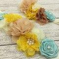 Varejo!!! marfim Sash Cinto Conjunto de Correspondência Bebê Headband Da Flor de Cetim Sash Vintage Inspirado Sash Luxe Headband