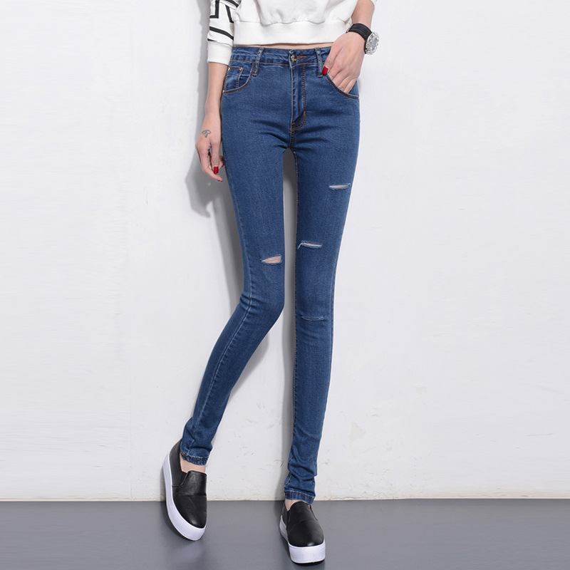 In the spring of 2016 new Korean slim hole Stretch Jeans Classic pencil pants female feet