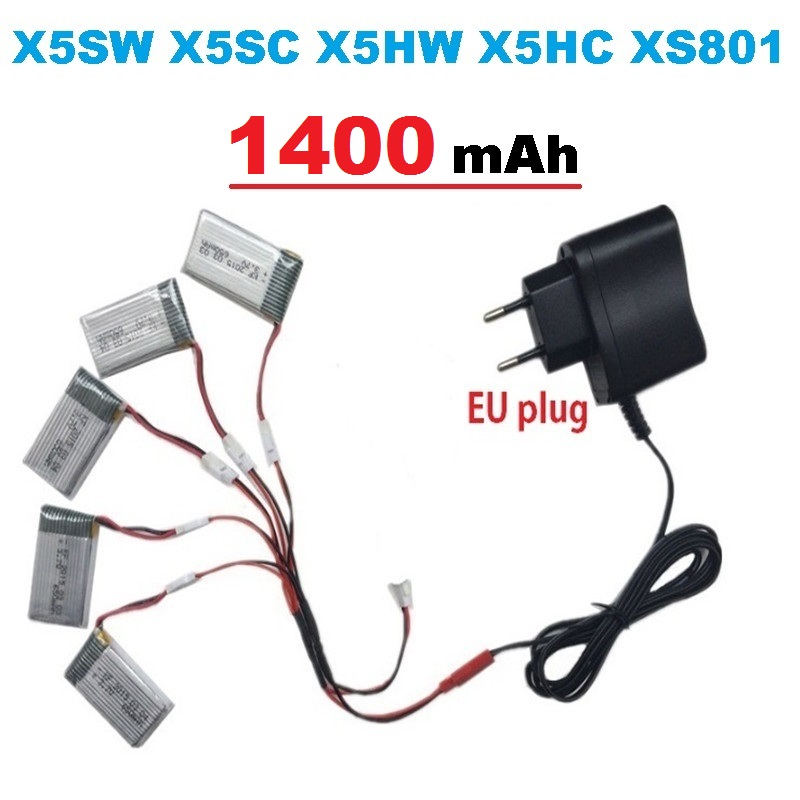 1400mAh 3.7V LiPo Battery + Euro Plug AC Charger for SYMA X5SW X5SC X5HW X5HC XS801 RC Drone Quadcopter Spare Battery Parts syma x5hc x5hw rc quadcopter parts 5 pcs 3 7v 600mah lipo battery with 5 in1 usb charger adapter cable drone spare parts set