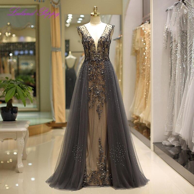 Luxury Women's A-line Tulle   Evening     Dress   V Neck Sleeveless robe de soiree Crystal Beaded Floor Length Draped Prom Formal Gowns