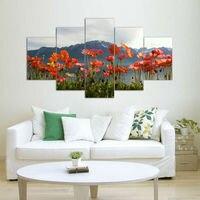 Modern Duvar Sanatı Ev Dekorasyon Baskılı Boyama Resimleri Güzel Kırmızı Gelincikler Uzaktan Dağ Çerçevesiz 5 Parça