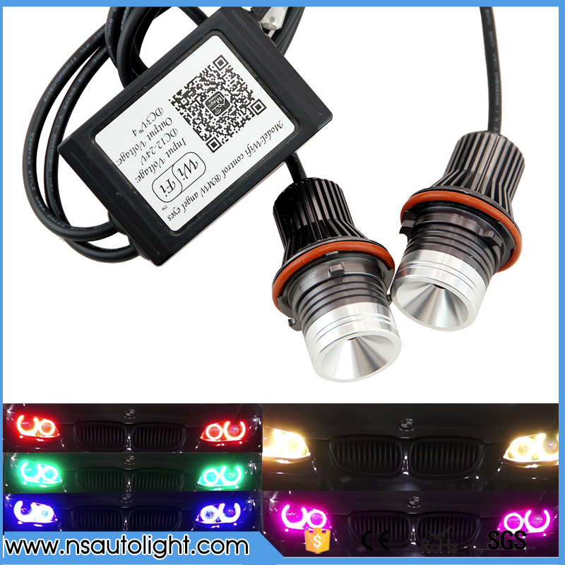 wifi RGB LED Angel Eyes 12V 24W canbus LED marker halo ring bulb for BMW E60 E61 E64 87 X3  E53 E6 Error Free car styling