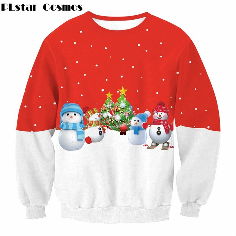 PLstar Cosmos Brand clothing Christmas style Sweatshirt Funny Christmas Snowman print Crewneck Pullovers Men/Women Hoodies
