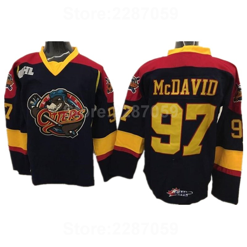 Ediwallen Erie Otters Ice Hockey Jerseys Cheap Edmonton 97 Connor McDavid  College Jersey Premier OHL With COA Black Yellow Color 4f239e65c