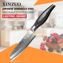 XINZUO 5inch santoku knife 73 layers Damascus steel kitchen knife fruit japanese VG10 chef knife Color wood handle free shipping