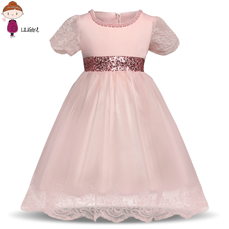FashionSequin Newborn Baby Girl Wedding Dress Baptism Pageant Formal Wear Petal Princess Girls Dress For 1 Year Birthday Clothes