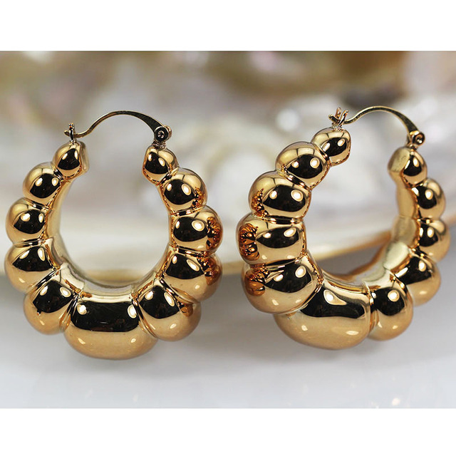 35mm Round Hoop Earrings For Women Office Career Lady Daily Costume Jewelry Copper