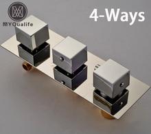 Best Quality Brass Thermostatic Triple Mixer Valve Shower Faucet Cartridges Contra 3-4 Ways Chrome Finish