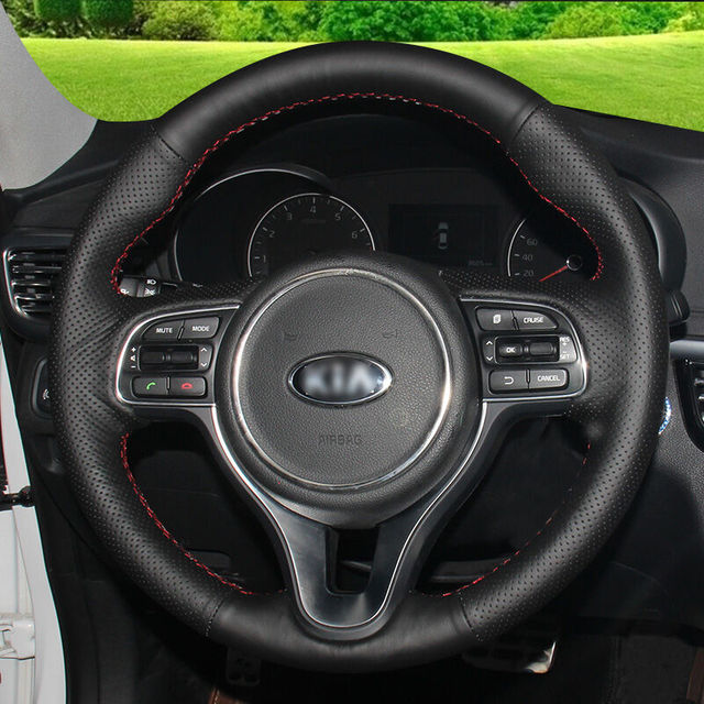 Hand-stitched Black Leather Steering Wheel Cover for  Kia K5 2016 Sportage 4 KX5 2016