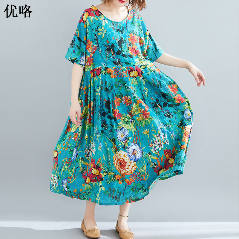US $17.32 30% OFF|2019 Summer Fashion Art Ethnic Printed Floral Beach Dress  Women Plus Size Cotton Dresses Casual Loose A Line Dress 4XL 5XL 6XL-in ...
