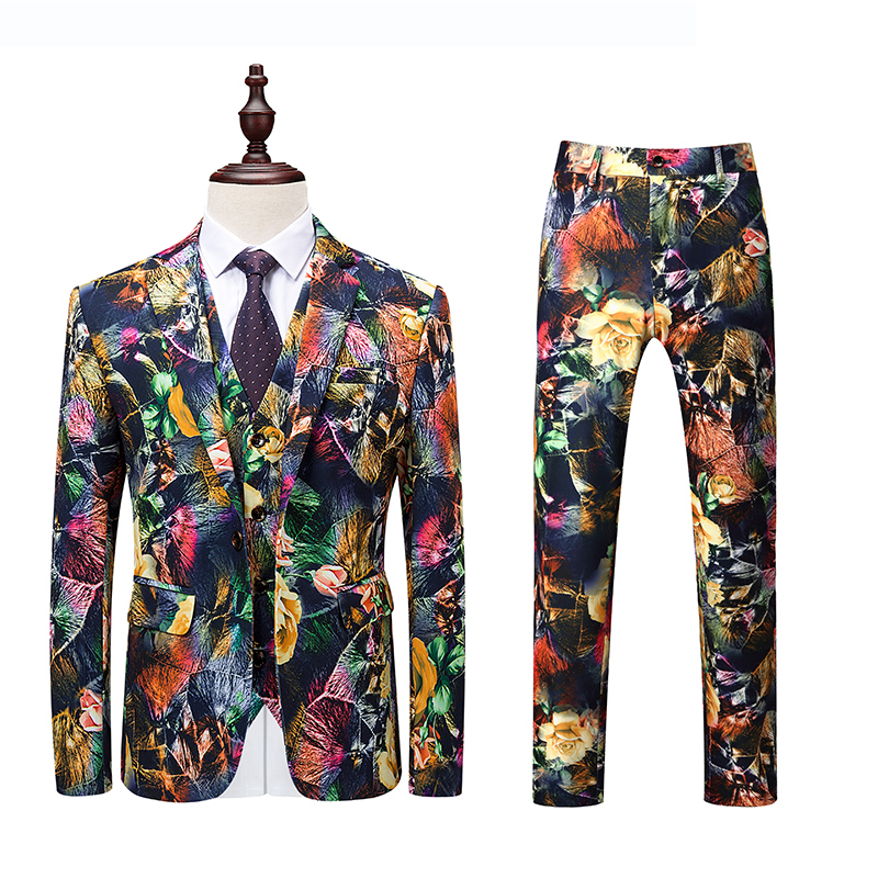 2018 Flower Printed Prom Suits Floral Wedding Man Dress Tuxedo Suits Stage Costumes For Singers Terno Slim Men Formal Suit