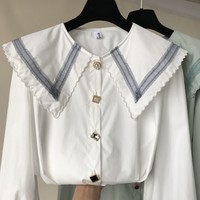 Shirt Women 2019 Spring New Fashion Doll Collar Long Sleeve Harajuku Buttons Blouse White Blusas Woman All match Basic Tops