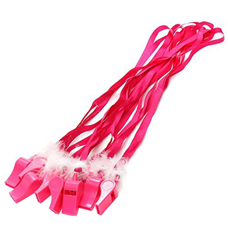 10pc Hen Party Cheering Props Pink Color Whistle With Feather Noise Maker Whistles For Bachelor Single Party Nice Gift For Kids ...