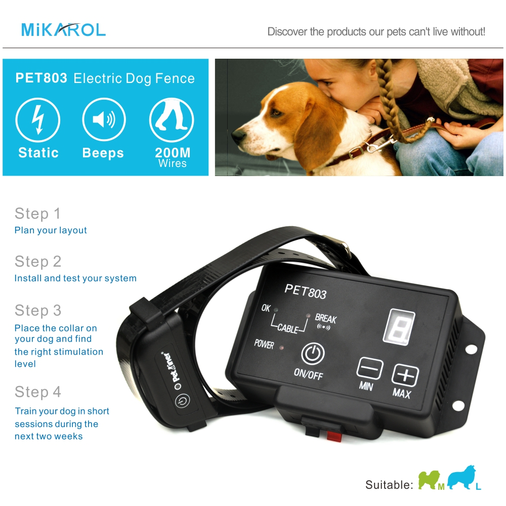 PET803 Dog Shock Collar Waterproof Electronic Pet Fence Safety Dog Collar  Electric 200m Wireless Invisible Fence