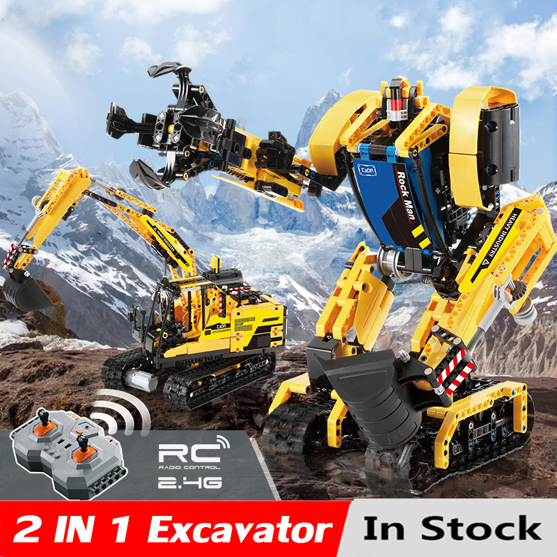 930pcs Intelligent RC Building Block 2 in 1 rc Excavator Toys Remote Control Robot Compatible L Brand toys For Children