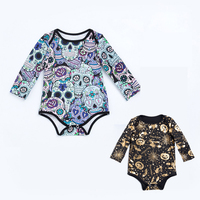 Wholesale Halloween Baby Clothes 0 2 Yrs Infant Bebe Long Sleeve Romper Graffiti Skull Jumpsuit Gold