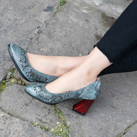 Women Leather Pumps 7 CM High Heels Blue Embroidery Pumps Women Hollow Out Shoes Handmade Genuine Leather Lazy Shoes Brand 2019