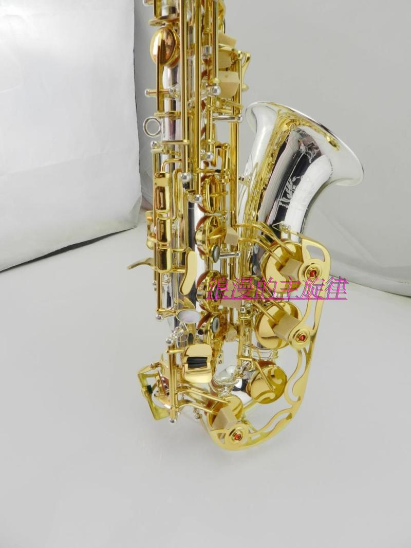 High quality French selmer 54 Alto Saxophone E Silver-plated double-bite big mouth full-carved flower  Gold Key Free Shipping free shipping zn447j gold plated double pin dip ic