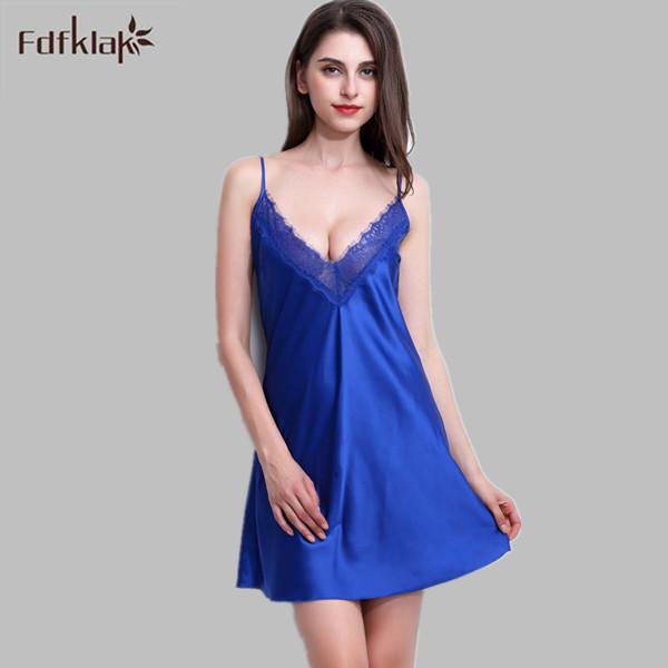 Sexy Vestido de Dormir de Seda Vestidos de Verão Para As Mulheres Camisas de Noite Sleepwear Feminino Camisola Homewear Roupa Em Casa Grande Tamanho E0039