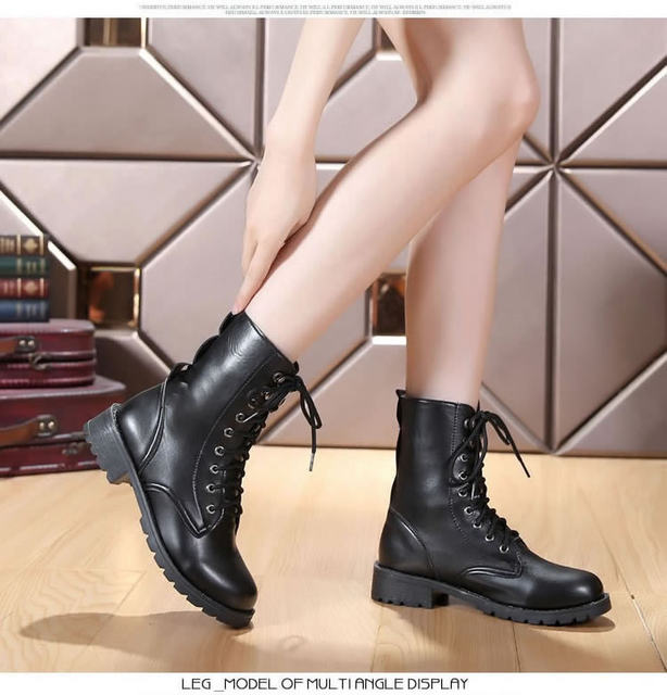 2019 New Buckle Winter Motorcycle Boots Women British Style Ankle Boots Gothic Punk Low Heel ankle Boot Women Shoe Plus Size 43 24