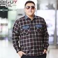 BIG GUY 6xl 7xl 8xl Plus Size Men Blouse 2017 Spring Male Shirts Oversized Casual Long Sleeve Plaid Shirt Men 1409 PZ3