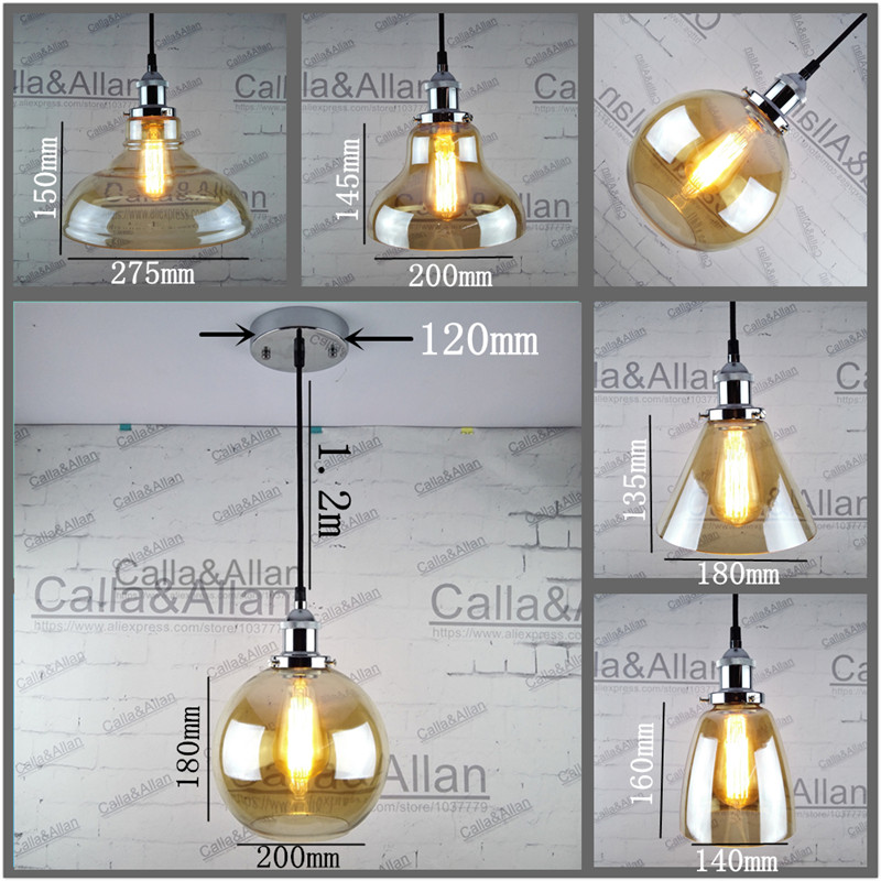 Chrome socket Edison Amber glass shade Pendant Light Fixture Hanging lamp Retro Industrial Pendant Lamp with fabric wire canopy brass half round ball shade pendant light led vintage copper wooden lighting fixture brass wood fabric wire pendant lamp