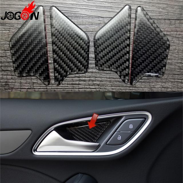 For Audi A3 S3 8v 2013 2017 Carbon Fiber Car Interior Front Rear Door Handle Bowl Trim Cover