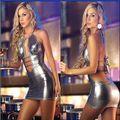 Novo de Couro de Alta Qualidade Mulheres Sexy Mini Vestido Roupa De Dormir Preto Fetiche Vestido Brilhante Trecho Catsuit Stripper