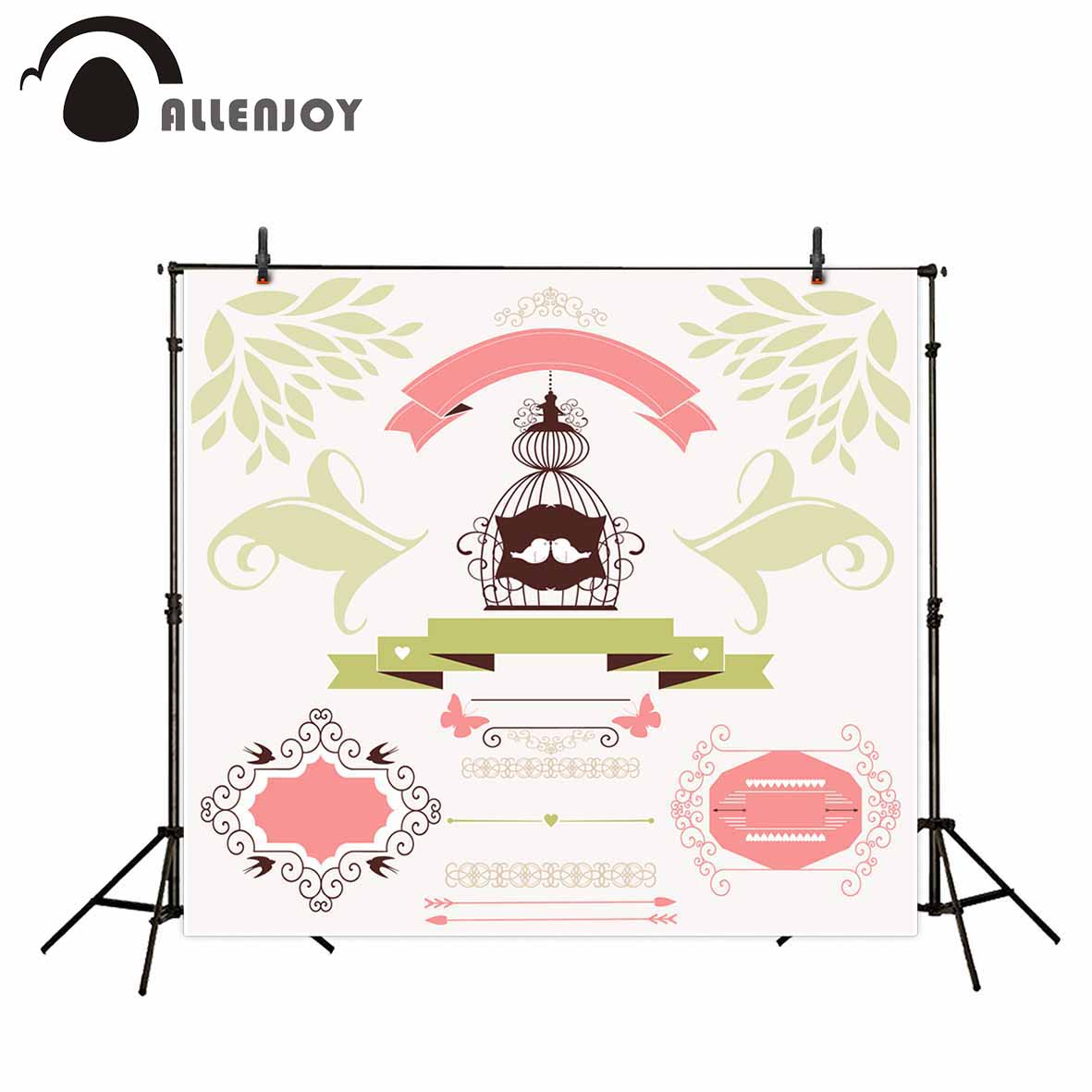 Allenjoy photographic background Banner Cartoon Customize Love Wedding backdrop photocall professional customize studio props