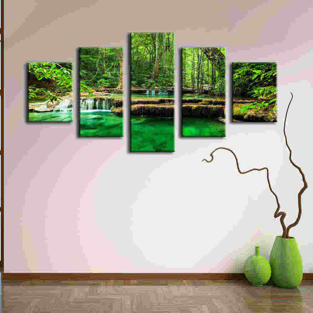 Prints Canvas Posters Home Decor 5 Pieces Natural Waterfall Paintings Wall Art Scenery Pictures Modular Living Room NoFrame