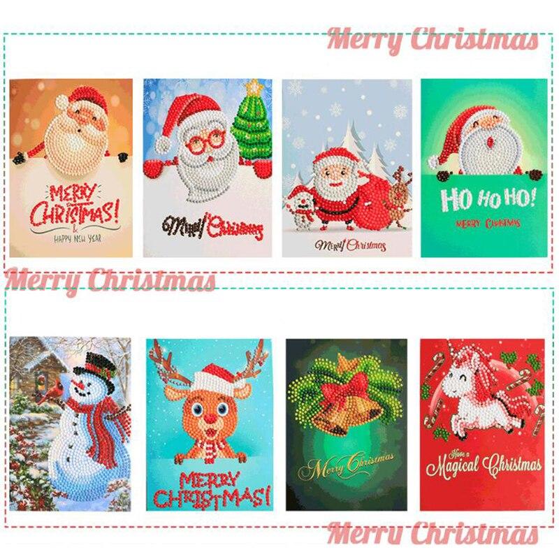 8pcs Diamond Painting Cartoon Santa Claus Merry Christmas Mosaic Greeting Post Card Crafts Diamond Embroidery New Year Gift