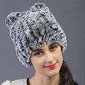 Outono inverno New Real malha pele de coelho chapéu de lã grossa forro de inverno mulheres chapéu gato orelha chapéu encantador neve caps bomber chapéus