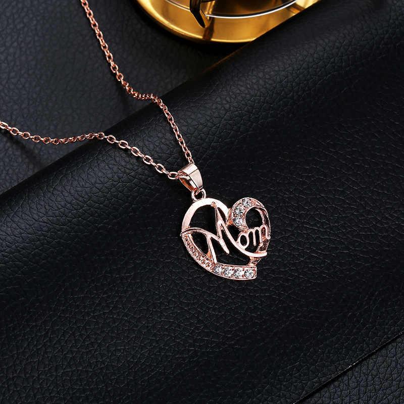 2019 nuevo 4 colores caliente amor mamá regalo mamá collar plata oro joyería para madre Mamá letras corazón colgante collar venta al por mayor